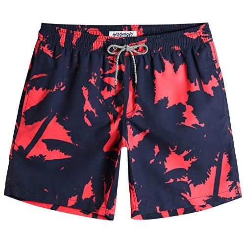 MaaMgic Bañador Hombre Shorts de Baño para Hombre Shorts de Playa Traje de Bañode Secado Rápido para Vacaciones 2021,Cocotero Negro-Sangre,L