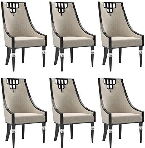 Casa Padrino Conjunto de sillas de Comedor Art Deco Beige/Negro/Plata 55 x 55 x A. 105 cm - Sillas d
