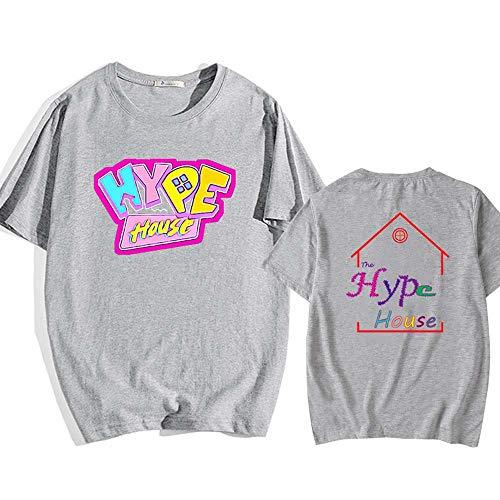 LYJNBB LA Maison Hype à Manches Courtes T-Shirts, Sweat-Shirt Unisexe T Impression S-XXXL ami Hauts Vêtements,Gris,XL