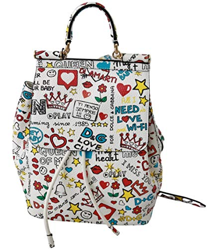 Dolce & GabbanaWhite Multicolor Leather Backpack Sicily Purse