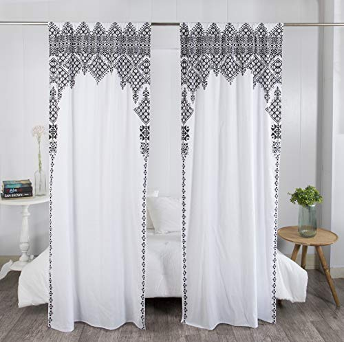 """Madhu International Set of 2 Bohemian Curtains - Handmade Cotton Indian Tapestry Curtain - Curtain Drape With Rod Pocket - Floral Printed Mandala Curtain Panel for Living Room - White Black, 41"""" X 87"""""""