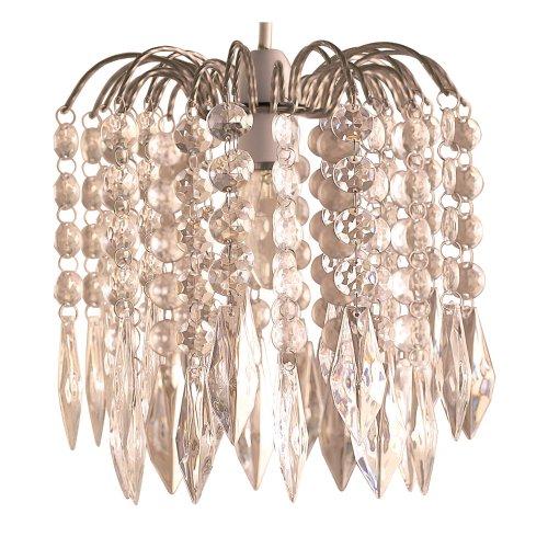 Lighting Web Co Lustre à 4 niveaux de cristaux en forme de goutte/cadre argenté