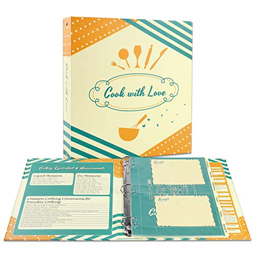 "Soligt Full Page Recipe Binder Organizer Kit with 60 4""x6"" Recipe Cards, 30 Page Protectors, 12 Tabbed Dividers and 24 Labels, 11.5"" X 11"", for Collecting Your Favorite Recipes"