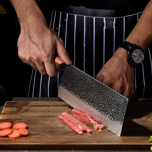 """Vegetable Cleaver 7"""" Kitchen Knife ,Hand Forged Kitchen Chef Knife in High ,Meat Cleaves,Vegetable Meat Cleaver Knife,Chinese Cleaver Kitchen Knife Superior Class with box"""