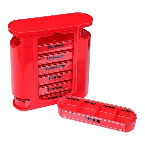 Schramm® Tablettenbox rot mit roten Schiebern 7 Tage Pillen Tabletten Box Schachtel Tablettendose Pillendose Pillenbox Tablettenboxen Pillendosen Pillen Dose Wochendosierer