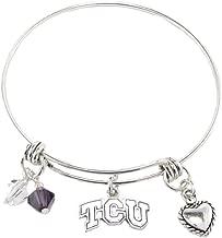 Sports Accessory Store TCU Horned Frogs Purple Austrian Crystal Silver Wire Bangle Bracelet Jewelry