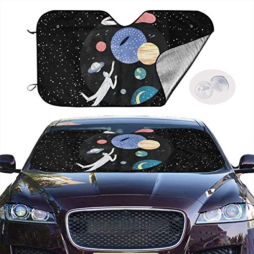 VTIUA Parasol para Parabrisa,parasoles de Coche Auto Space Art Portable Universal Sunshade Keeps Vehicle Cooler for Car,SUV,Trucks,Minivan Automotive and Most Vehicle Sunshade (51 X 27 in)