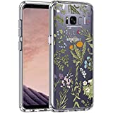 LUHOURI Galaxy S8+ Plus Case Clear with Flower Leaves Design for Girls Women,Shockproof Hard PC Back Cover and Soft TPU Bumper Slim Fit Protective Phone Case for Samsung Galaxy S8+ Plus