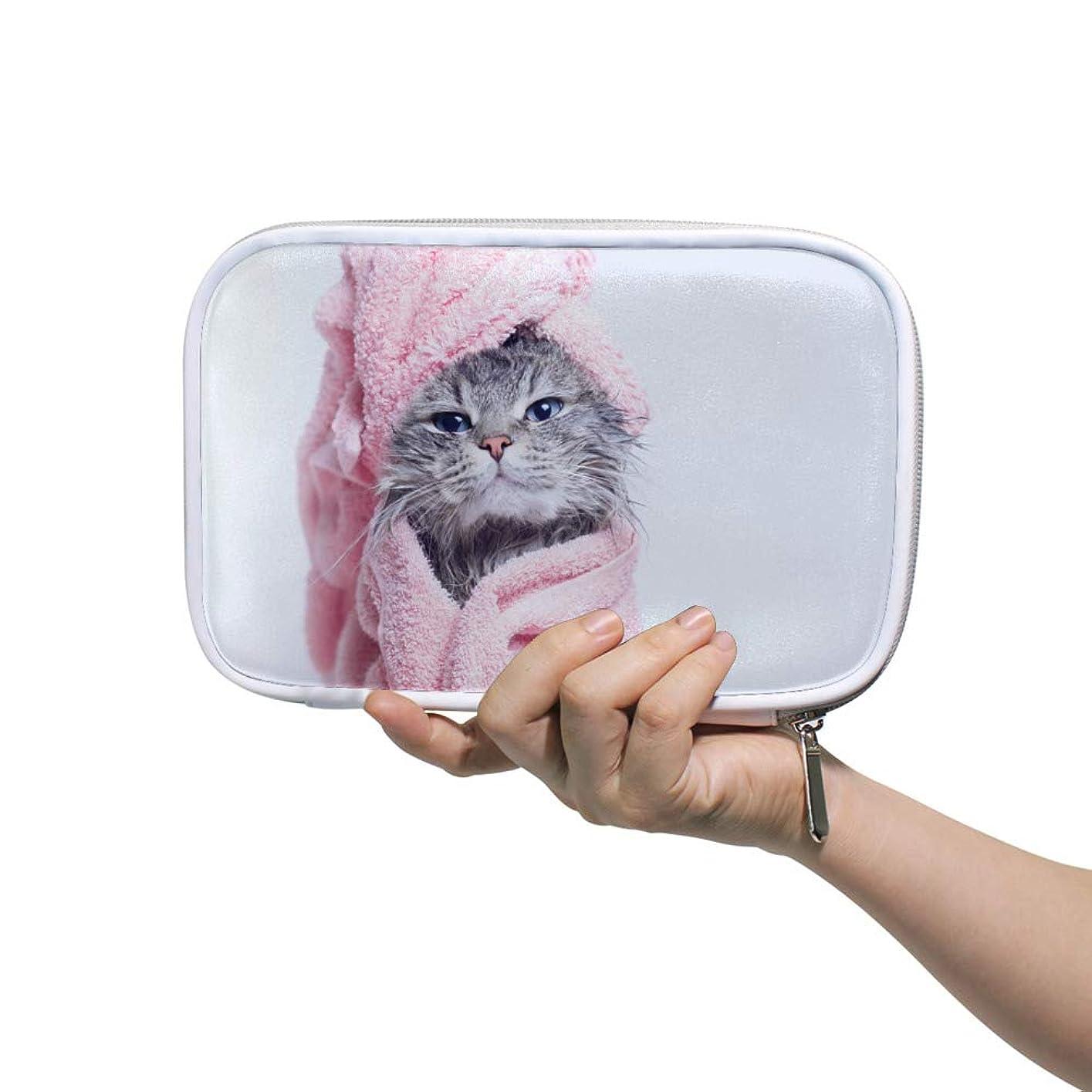 あたりマスク被るZHIMI 化粧ポーチ メイクポーチ レディース コンパクト 柔らかい おしゃれ コスメケース 化粧品収納バッグ 可愛い猫の柄 機能的 防水 軽量 小物入れ 出張 海外旅行グッズ パスポートケースとしても適用