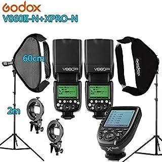 Photo Studio Accessories - Photo Studio Photographic Kit 2 godox V860IIN FlashLight Kit Camera & Photo Accessories 2 light...