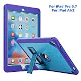 iPad Pro 9.7 Case, iPad Air 2 Case, ZERMU [Kickstand] 3in1 Heavy Duty Shockproof Rugged Silicone+Hard PC Bumper Glitter Sparkle Bling Shining Fashion Armor Defender Case for iPad Pro 9.7/ iPad Air 2