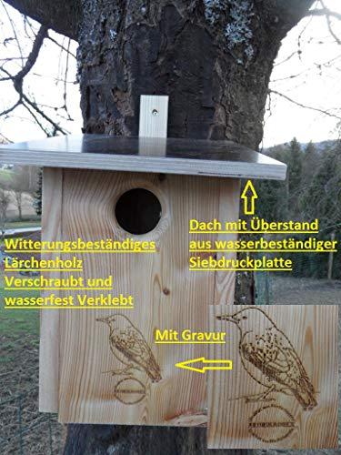 Premium Natur Lärchenholz Nistkasten unbehandelt nach Nabu Star Kasten Buntspecht 45mm Einflugloch, massives Vogelhaus Nisthilfe wetterfest 18mm stark verschraubt , mit Befestigungsmaterial