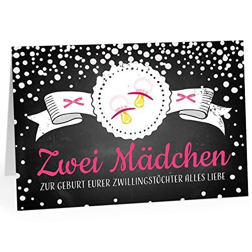 Große XXL Design Geburtskarte zur Geburt/Zwillinge/Klappkarte/mit Umschlag / A4 / Zwei Mädchen Rosa Schnuller/Baby geboren/Grußkarte zur Gratulation Eltern