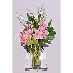 Silk Blooms Ltd Gorgeous Punk Fresh Touch Amaryllis and Trachellium Vase Arrangement w/Monstera Leaves