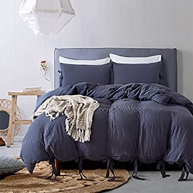 DuShow Solid Color Egyptian Wash Cotton Duvet Cover Luxury Bedding Set High Thread Count Long Staple Weave Silky Soft Breathable Bed Linen (Queen, Navy Blue)