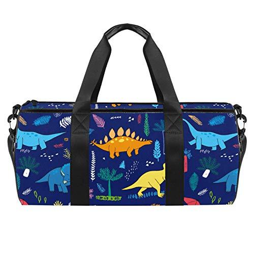 Bolsas de playa de viaje, gran deporte gimnasio durante la noche Duffle dinosaurios patrón impresión bolsa de hombro con bolsillo seco húmedo
