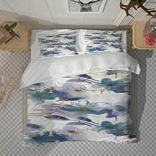 PANDAWDD Duvet Cover With 2 Pillowcases 3D Printed Bedding Set With Zipper Closure Unique Design Anti-Allergic Double Duvet Cover Set Double,Retro Beautiful Flower - 200X200cm