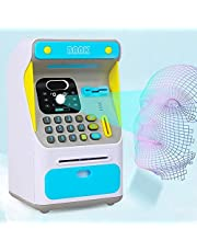 Money Bank Automatic with 【Face Lock】 Password Protection Plastic Safe Mini ATM Coin Bank ATM Money Bank Password Piggy Bank Savings Bank for Kids Atm Money Bank for Kids rechargeable(BLUE)