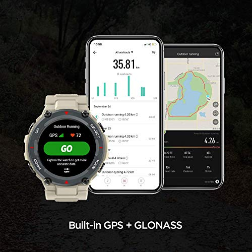 HUAMI AMAZFIT T-Rex Smart Watch with 20 Days Battery Life, AMOLED Display, Built-in GPS, 12 Military Certifications, Water Resistance, 14 Sports Modes (Khaki)