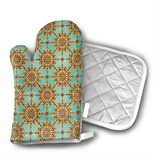 NEU ~ Marokkanischer Bogen aus dem Nahen Osten mit mittelalterlichen Blumenofenhandschuhen, hitzebeständigen Ofenhandschuhen Isolierung Verdickende Baumwollhandschuhe Backen Küchenkoch