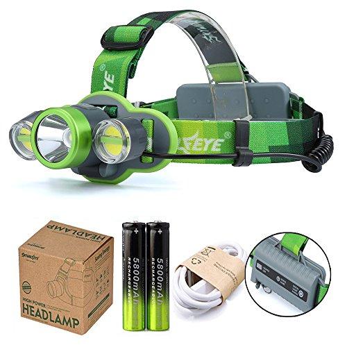 LED Stirnlampe, Ulanda USB Wiederaufladbare LED Kopflampe, 15000 Lumen wasserdichter Scheinwerfer mit 4 Lichtmodi. Perfekt zum Laufen, Campen, Wandern, inklusive USB Kabel + 2 x 18650 Batterie