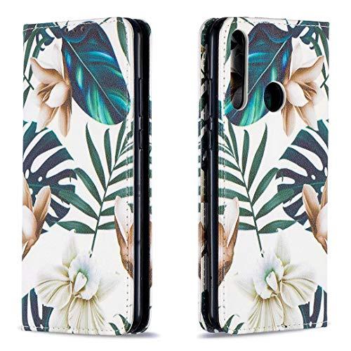 Miagon Brieftasche Hülle für Huawei Y7P/P40 Lite E,Kreativ Gemalt Handytasche Case PU Leder Geldbörse mit Kartenfach Wallet Cover Klapphülle,Blatt Blume