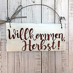 Holzschild Willkommen Herbst 7×14 cm