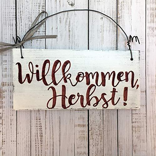 Holzschild Willkommen Herbst 7x14 cm