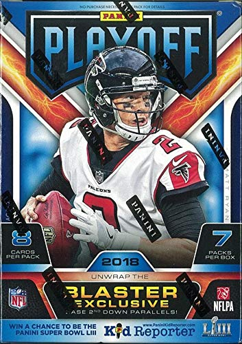 2018 Panini PLAYOFF Football EXCLUSIVE Factory Sealed Football Box. 7 Packs/8 Cards Per Pack. Rookie Card Chances Include LAMAR JACKSON, SAQUON BARKLEY, BAKER MAYFIELD, JOSH ALLEN and Many More. Loaded with Star RCs.