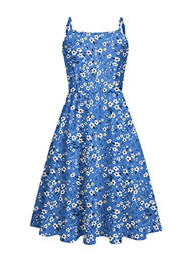 Arshiner Girls Summer Sundress Floral Print Sleeveless Midi Dresses for Toddler Girl 4-13 Years Floral Blue 12-13Y