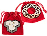 Hexagon & Coaster Hanayama Brain Teaser Puzzles, with RED Velveteen Drawstring Pouches - Bundled Items