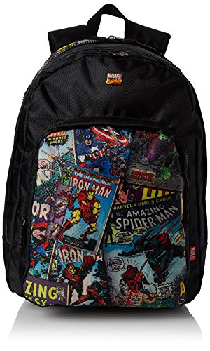 BB Designs Europe Limited Unisex-Erwachsene Retro Comic Red Student Backpack Rucksack, Schwarz (Black)