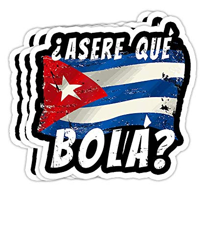 DKISEE Bumper Stickers Decal Cuban Flag Funny Cuba Miami Saying Spanish Greeting Gift Decorations - 4 inches Vinyl Stickers, Laptop Decal, Water Bottle Sticker (Set of 3)
