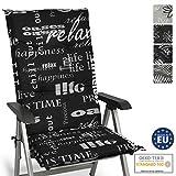 Beautissu Relax Sitzkissen Hochlehner Auflage für Gartenstuhl – Sitzpolster 120x50 cm Polsterauflage UV-Lichtecht – Stuhlauflage schwarz mit...