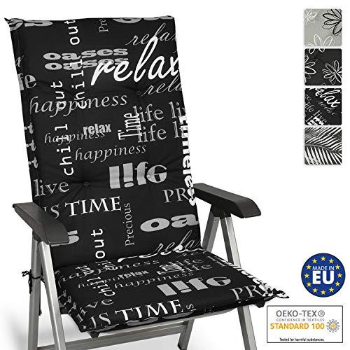 Beautissu Relax Hochlehner Auflage für Gartenstuhl 120x50 cm - Bequemes Sitzkissen Polsterauflage UV-Lichtecht - weitere Designs erhältlich