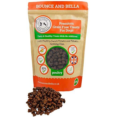 Bounce and Bella Premios para Perro Sin Cereales Bolsa de 800 Snacks Sabrosos y Saludables – 80% Carne Fresca de Ave, 20% Patata y Boniato – Premios Hipoalergénicos para Perros de Estómago Sensible