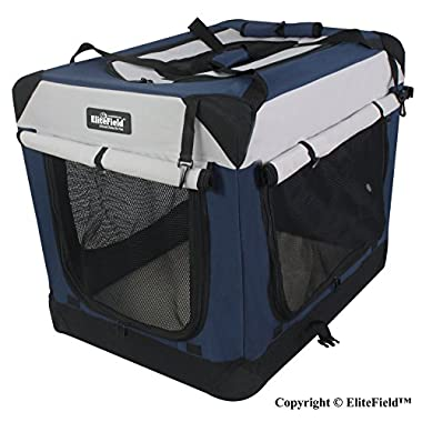 EliteField 3-Door Folding Soft Dog Crate, Indoor & Outdoor Pet Home, Multiple Sizes and Colors Available (42 L x 28 W x 32 H, Navy Blue+Gray)