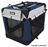 EliteField 3-Door Folding Soft Dog Crate, Indoor & Outdoor Pet Home, Multiple Sizes and Colors Available (24' L x 18' W x 21' H, Navy Blue+Gray)