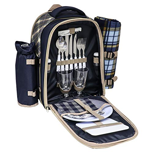 Andes 2 Person Deluxe Picnic Set Hamper Backpack/Rucksack Cool Bag, Includes Cutlery, Plates, Napkins, Wine Glasses, Bottle Opener, Chopping Board