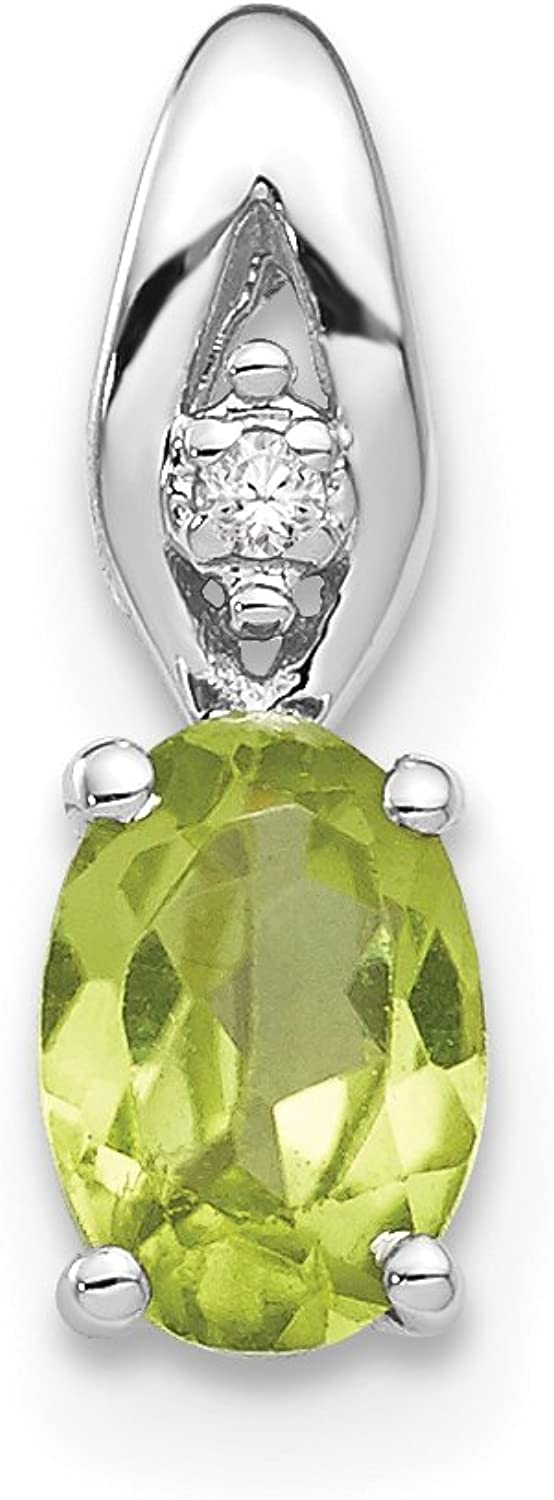 Diamond2Deal 14k White gold Peridot Diamond Pendant