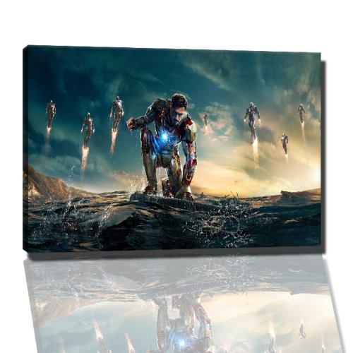 iron man 3 Bild auf Leinwand -- 60x40 cm fertig gerahmte Kunstdruckbilder als Wandbild - Billiger als Ölbild oder Gemälde - KEIN Poster oder Plakat