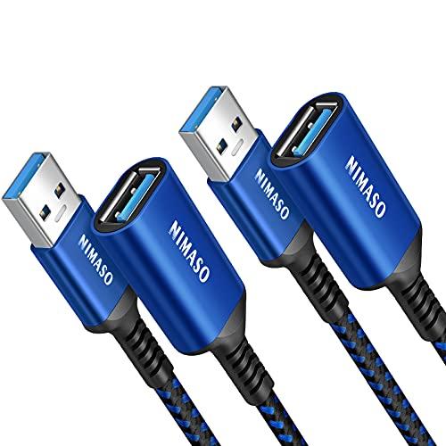 Nimaso Cavo Prolunga USB 3.0 [2Pezzi/2M+2M],Cavo USB Maschio e Femmina 5Gbps Cavo Estensione USB 3.0 per Chiavetta USB,Hub USB,Disco Rigido Esterno,Tastiera,Mouse,Stampante,Videocamera,Gamepad-Blu