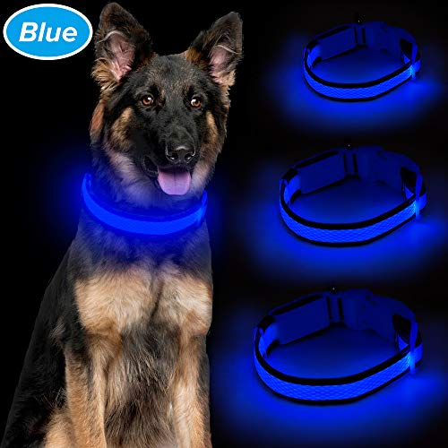 Ezier LED Dog Collar, USB Rechargeable Glowing Pet Collars, Mesh Adjustable Light Up Doggy Collars to Keep Your Dogs Be Visible& Safe in The Dark (L, Blue)