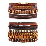 STWTR Mix 8 Wrap Bracelets Men Women, Hemp Cords Wood Beads Ethnic Tribal Bracelets, Leather Wristbands (Brown)