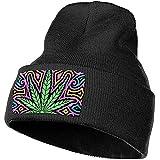 Dale Hill Colorful Cannabis Leaf Unisex 100% Acrílico Gorro de Tejer Sombrero Moda Beanie Hat
