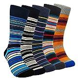 Funny Mens Striped Dress Socks - HSELL Colorful Patterned Cotton Socks for Men Funky Design (5-Pack Stripe Assorted)