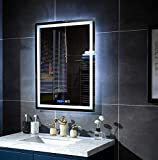 GLLAVORI 20x28 In Bathroom Led Lighted Vanity Mirror for Wall Mounted Makeup,Clock&Temperature Display/Vertically Hanging/Anti Fog/IP54 Waterproof, Wall Switch/Plug Ready