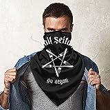 QsuNa Hail Seitan Go - Máscara de Cuello Suave para Deportes al Aire Libre con Logo Vegano