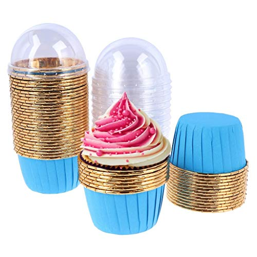 50 Pack Aluminum Foil Baking Cups with Lid, Disposable Paper Ramekins Cups for Mini Muffin Cupcake Pudding Snacks Dessert, Recyclable Catering Wedding Birthday Party Favor Baking Cups (Blue)