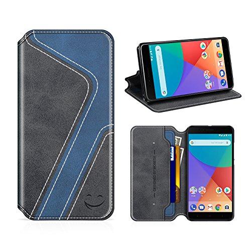 MOBESV Smiley Xiaomi Mi A1 Hülle Leder, Xiaomi Mi A1 Tasche Lederhülle/Wallet Hülle/Ledertasche Handyhülle/Schutzhülle mit Kartenfach für Xiaomi Mi A1, Schwarz/Dunkel Blau